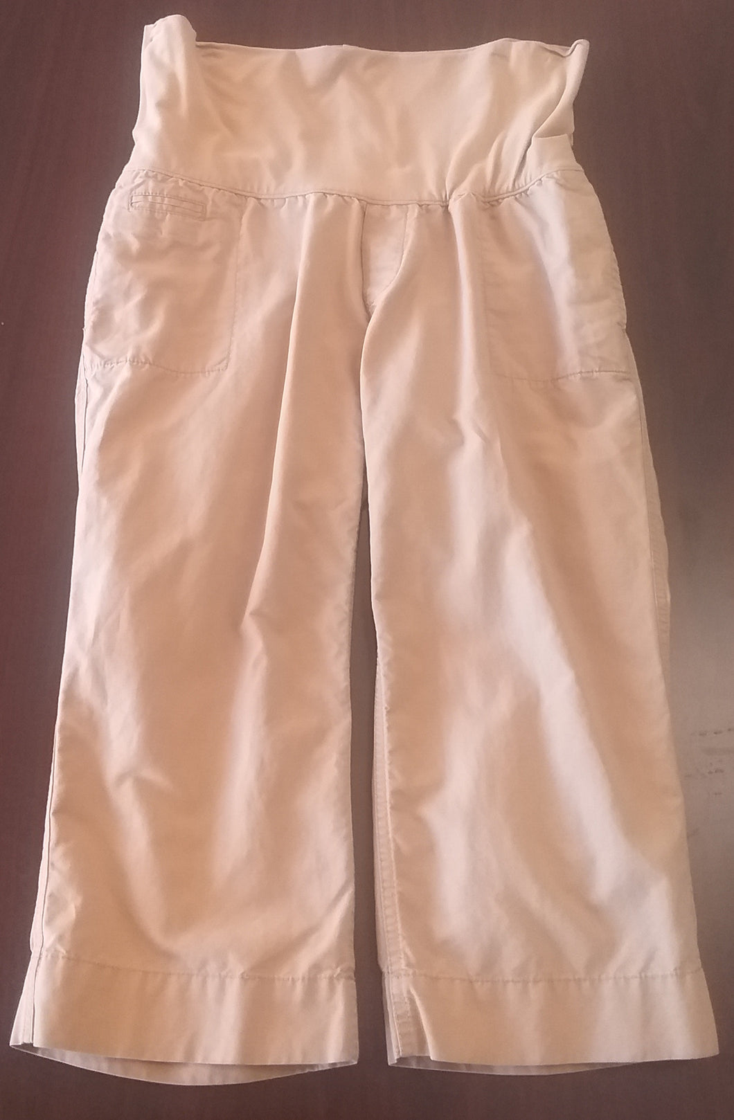 Size 6 Full Panel Khaki Maternity Capri