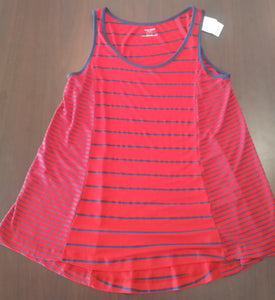 New Medium Red/Blue Striped Maternity Tunic Tank