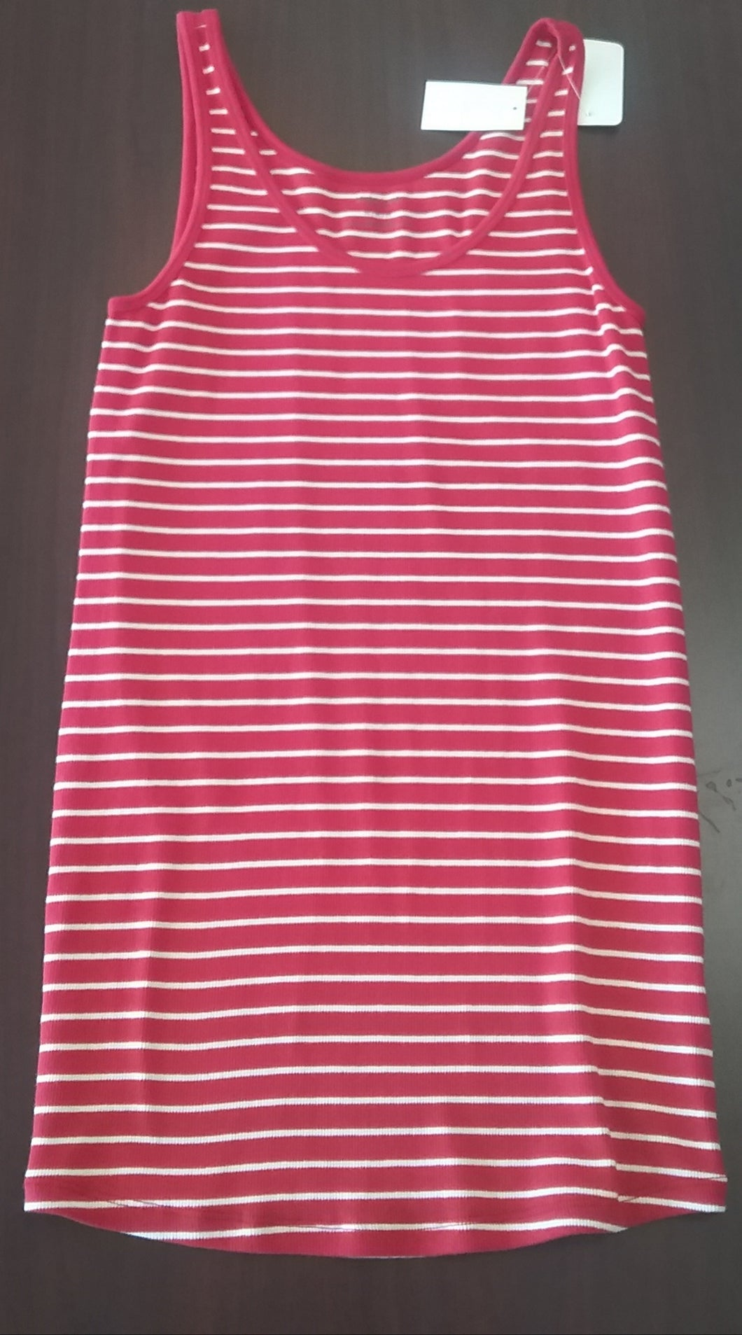 New Medium Red & White Striped Ribbed Maternity Tank