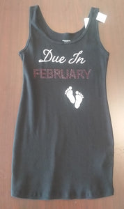 "New Medium Black Fitted "" Due in February"" Maternity Tank"