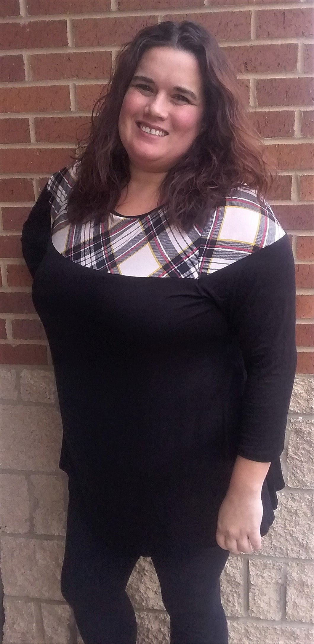 Black Jersey Plaid Tunic Top