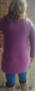 Violet Soft Hacci Brush Tunic Top