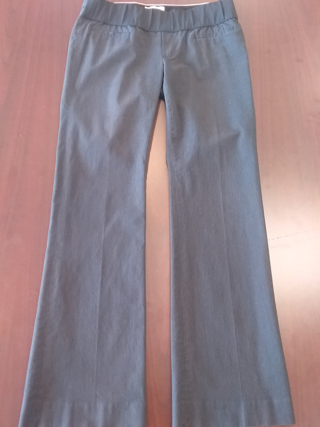 Size 6 Tall Gray Pin Stripe Under Belly Panel Maternity Pants