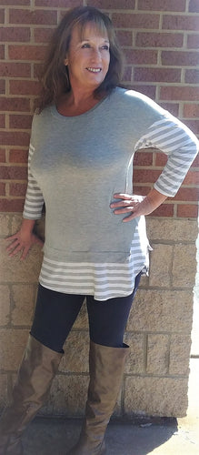 Heather Gray Casual Solid Jersey Tunic Top