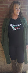 """Grandma Has No Naughty List"" Black Long Sleeve Tee"