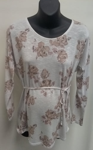 Large White Floral Long Sleeve Maternity Top