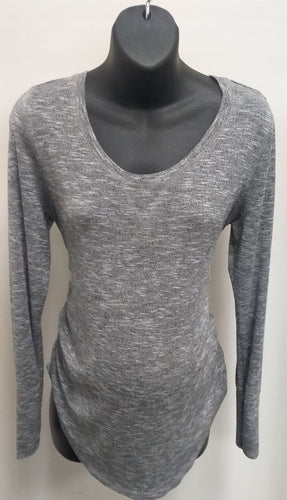 Large Long Sleeve Two Tone Gray Maternity Sweater