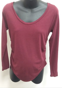 Large Ruched Burgundy Long Sleeve Maternity Tee