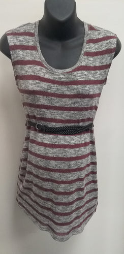 Small Burgundy Striped Sleeveless Maternity Sweater