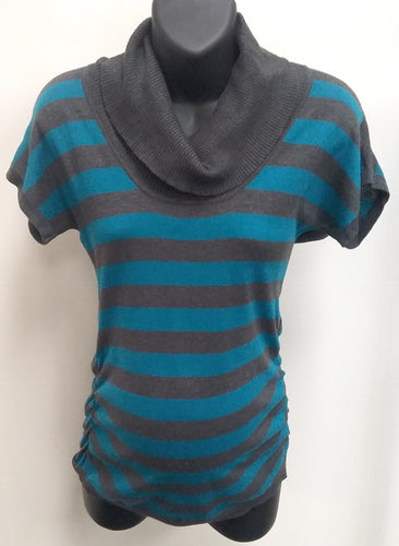Small Teal/ Gray Striped Cowl Neck Maternity Sweater
