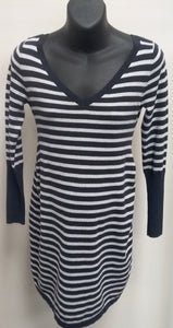 Small White/Navy Striped Long Sleeve Maternity Sweater Dress