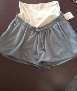 New Gray Full Panel Lounge Maternity Shorts