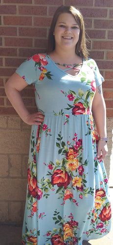 Light Blue Floral V-Neck Spaghetti Strap Maxi Dress