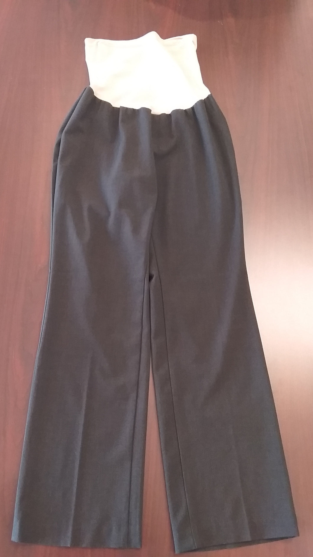 Large Full Panel Charcoal Gray Maternity Slacks