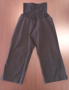 Large Full Panel Black Capri Maternity Pants