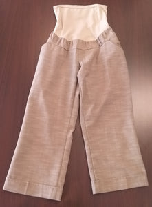 Large Full Panel Tan Capri Maternity Slacks