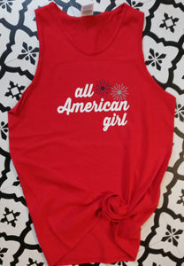 All American Girl Graphic Red Tank