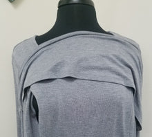 Asymmetrical Popover Gray Nursing Top