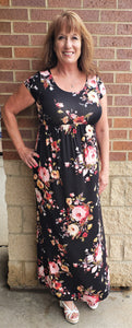 Black Floral Short Sleeve Maxi Dress