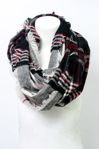 Black Plaid Frayed Edge Infinity Scarf