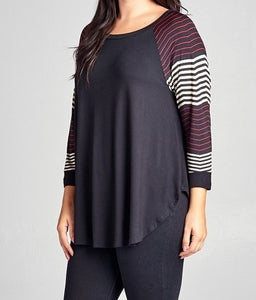Black Tunic Top With Striped Sleeves