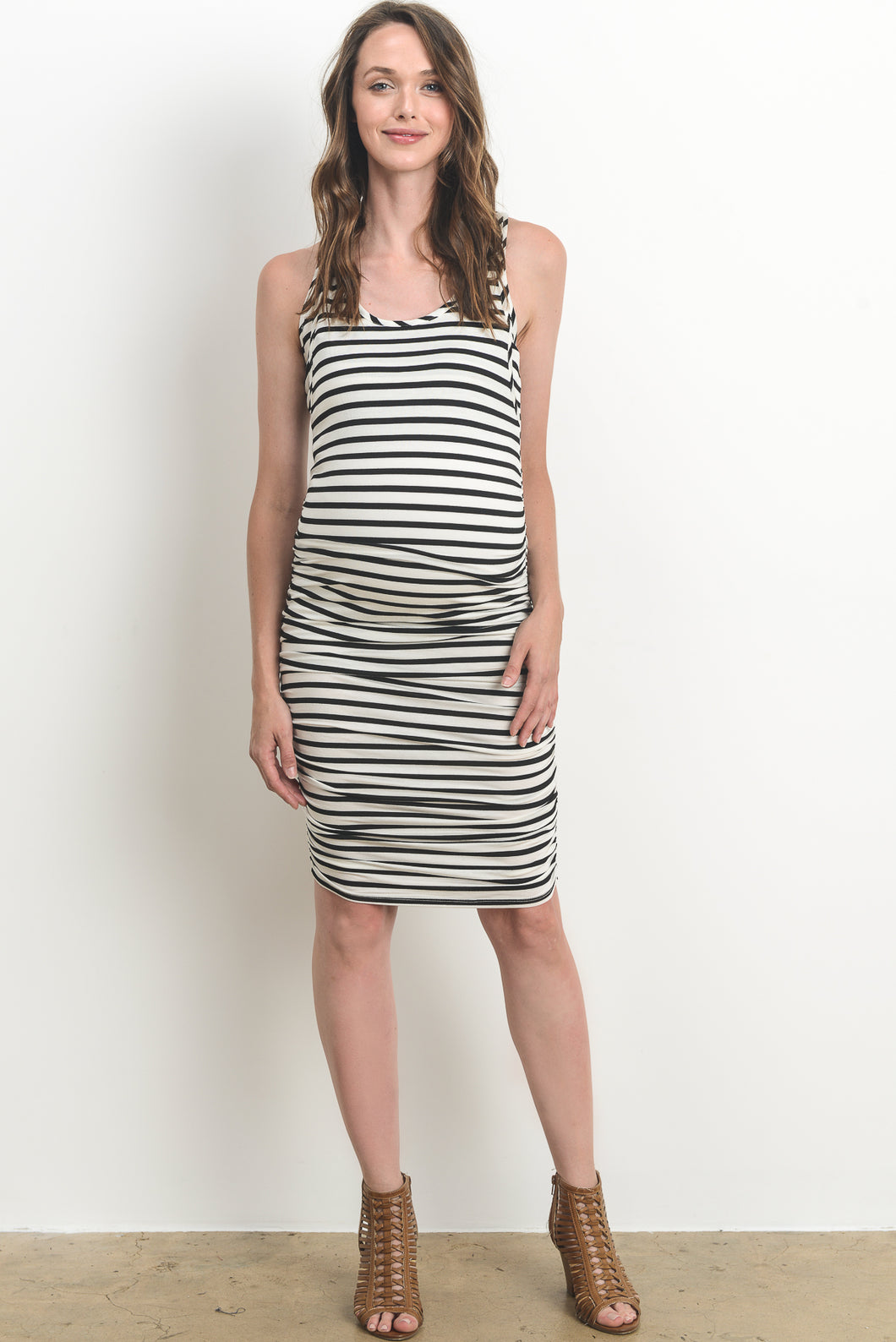 Stripe Black & White Maternity/Nursing Friendly Tank Dress