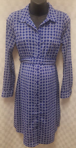 Blue Lightweight Button Up Maternity Dress