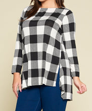 Ivory & Black Buffalo Plaid High Low Tunic Top