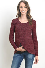 Burgundy Tulip Hem Long Sleeve Maternity & Nursing Top
