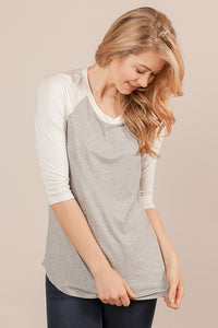 Relaxed Fit Heather Grey & Ivory Baseball Tee