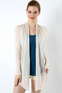 Light Weight Sheer Champange Cardigan With Pockets