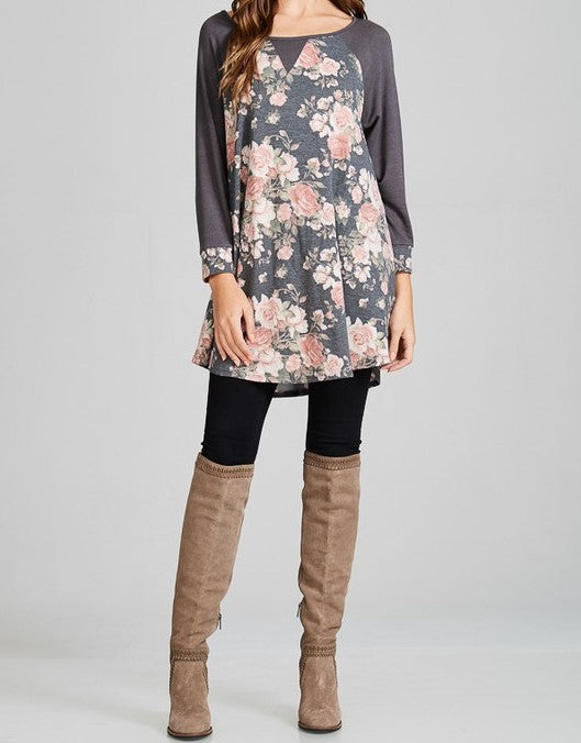 Charcoal Floral Longsleeve Tunic Top