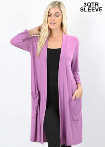 Open Dark Mauve Cardigan With Pockets
