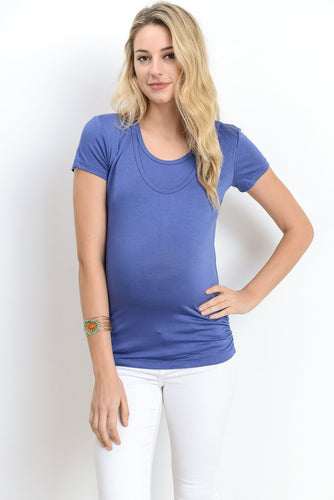 Denim Double Scoop Maternity/Nursing Friendly Top