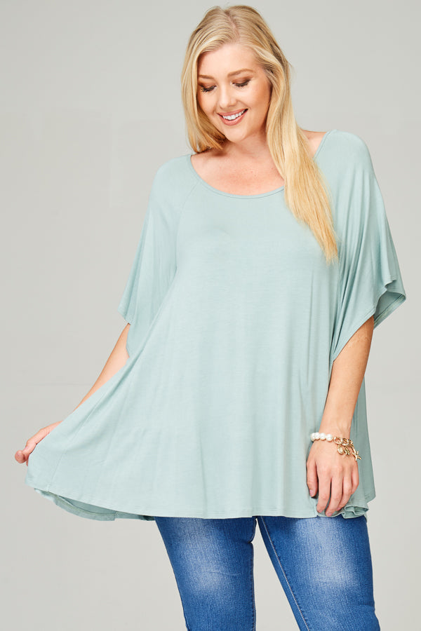 Jersey Oversize With Flutter Sleeves Blue Sage Top