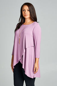 Jersey Tunic Lily Lavendar Top With Overlay