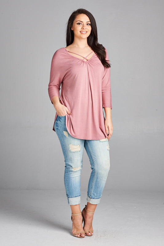 Crisscross Straps V-Neck Mauve Top