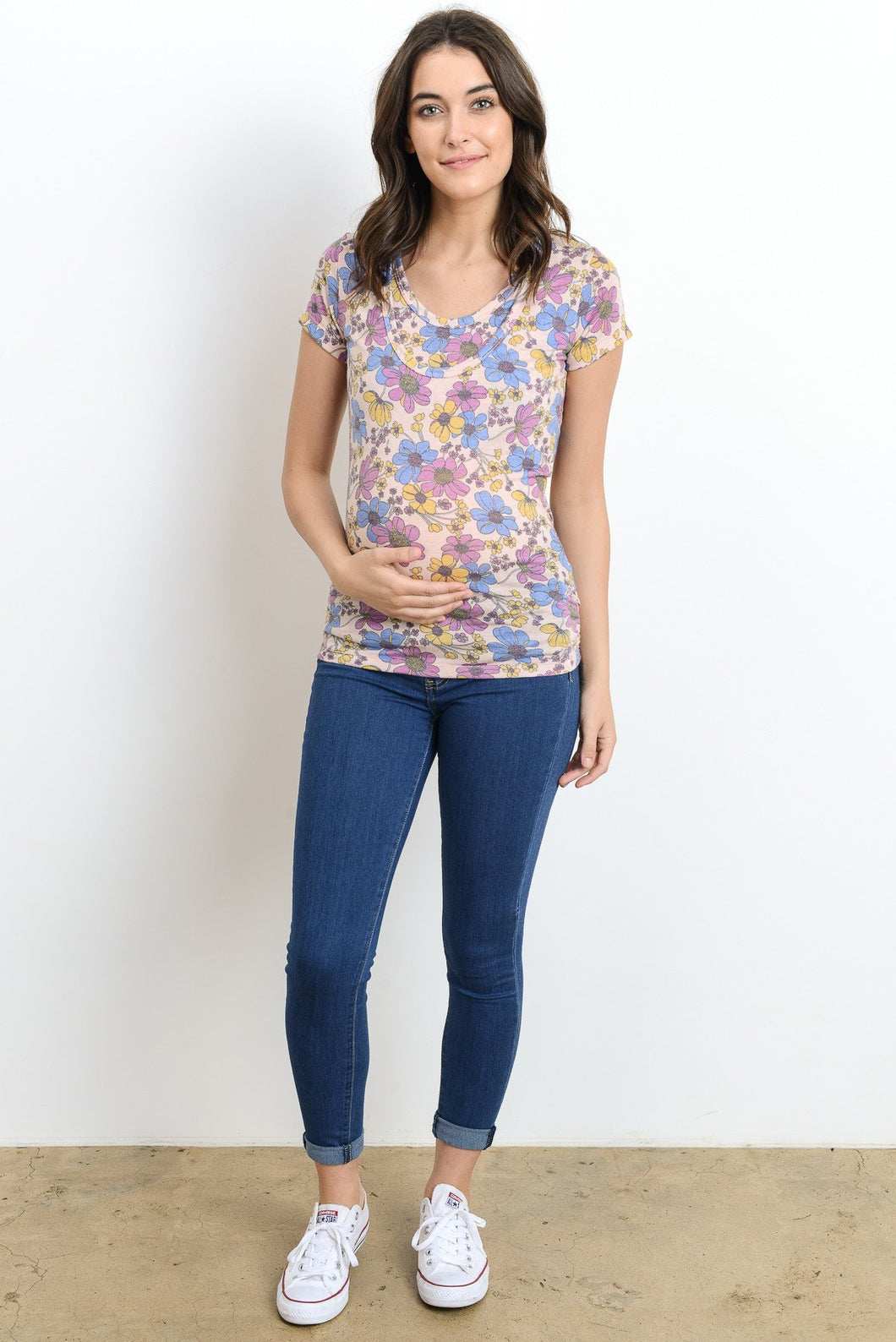 Floral Ruched Maternity & Nursing Top