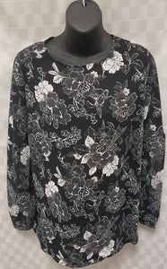 Medium Black Floral Light Weight Maternity Blouse