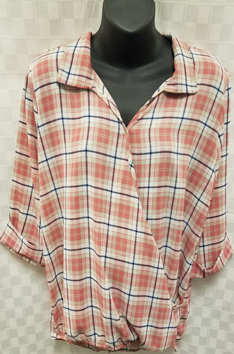 Large Pink Plaid Cross Front Maternity & Nursing Friendly Top