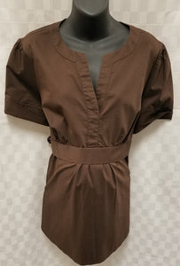 2X Brown V-Neck Baby Doll Tie Back Maternity Blouse
