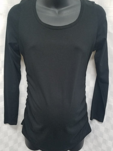 Small Black Long Sleeve Ruched Maternity Tee