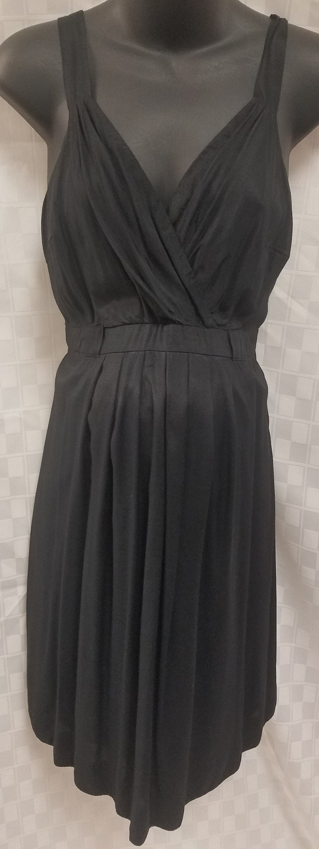 Large Black Pleated Cross Over Maternity/Nursing Friendly Dress