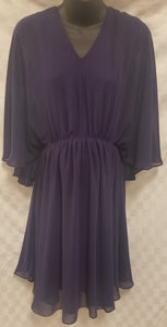 Large Pleated Midi Maternity Dress with Flutter Sleeve in Dark Purple