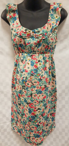 XLarge Sleeveless Floral Sheath Maternity Dress with Ruffled Neckline