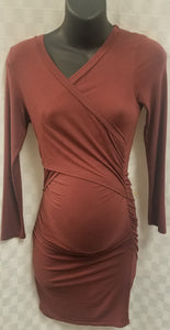 Small Cross Front Maternity/Nursing 3/4 Sleeve Dress in Red Brick