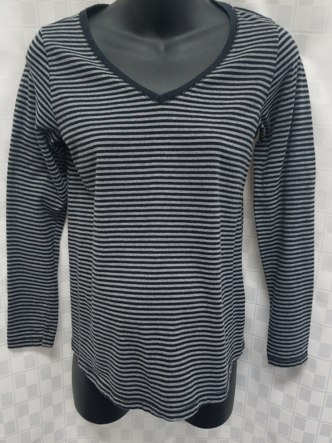 Small Black & Gray Striped Long Sleeve Maternity Tee