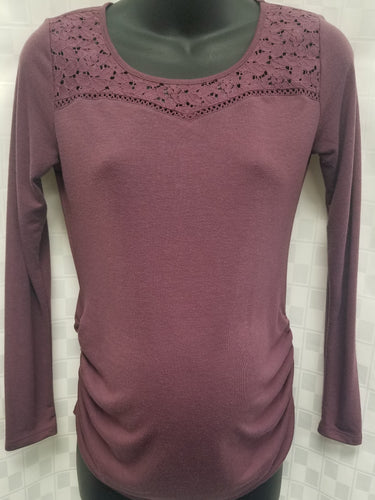 XS Soft Plum Long Sleeve Ruched Maternity Tee
