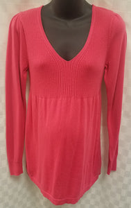 Medium Pink Long Sleeve Ribbed Knit Baby Doll Maternity Sweater