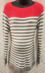 Large Super Soft Striped Coral Maternity Sweater